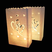 DHL / EMS gratuit, 100pcs / lot Titulaire de la lumière Double Tea Heart Luminaries Paper Lantern Candle Bag For Christmas Party Décoration de mariage