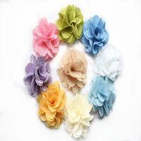 flores de tela de lino al por mayor-Venta al por mayor linda tela de lino pétalos flor color de rosa, accesorios para el cabello con cabeza de flor de arpillera completamente abiertos, flor de pie de flor de roseta hecha a mano a la venta