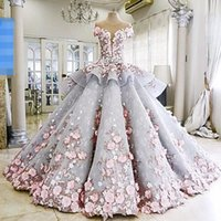 Wholesale dreams real - 2016 Summer Dreaming Ball Gown Wedding Dresses 3D Flora Appliques Sheer Back Jewel Neck Corset Luxury Romance Bridal Gown High Custom Real