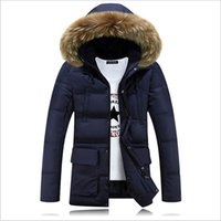 Wholesale Mens Fur Hood Parka - Fall-2016 Casual Long Fur Hooded Parkas Hombre Invierno Thick Cotton-padded Mens Winter Parka With Fur Hood