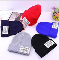 Wholesale Earmuffs For Men - Knit Wool Beanie Earmuffs Hat Wool Pure Color Label Cap Knitting Hat Bonnet for Women Men Sport Warm Winter Skull Hat Wholesale Gift