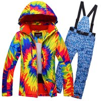 Wholesale Woman Orange Ski Jacket - Free Shipping New Women Flower Ski Suit Windproof Waterproof Skiing Jacket+Pants Outdoor Sport Wear Camping Hiking Riding Flower Style Set