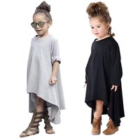 Wholesale Dress Long Sleeve Kid - PrettyBaby 2016 hot sale kids girls dress two colors black&gray 100% cotton long sleeves 50pcs Lot DHL for free shipping