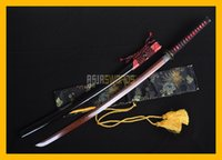 Wholesale Handmade Damascus Swords - COLLECTION SWORD decorate TOP Quality Handmade Red Black Folded Damascus Steel Japanese Samurai Katana Sword Ninja Rayskin Saya #181