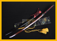 COLLECTION SWORD украшают TOP Quality Handmade Red Black Folded Damascus Steel Японский самурай Katana Sword Ninja Rayskin Saya # 181