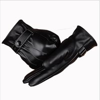 Wholesale Sales Cycling Winter Gloves - The touch screen Fashion New Hot sale Winter gloves Mens Leather gloves Cycling Driving Gloves pu waterproof glove High quality