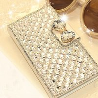 Wholesale Crystal Bowknot Iphone - Luxury Bling Bowknot Crystal Diamond Wallet Flip Case Bling Pearl Diamond Credit Card Holder Cover For iPhone 5 5s SE 6 6plus