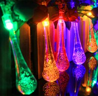 Wholesale String Lights Drop Shipping - 5M 20LEDs water drop LED solar string lights waterproof outdoor led fairy lights for garden showcase Christmas decor DHL free shipping