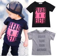 tshirt mode garçon achat en gros de-Designs de mode garçons tshirt enfants Toddler bébé garçon été Cool Tees mots imprimés haut T-shirt coton noir gris garçon Tops 2-7Y en gros au détail