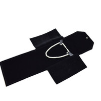 Wholesale Travel Pouch Necklace - 2016 New Arrival Jewelry Bag Portable Folder Pearl Storage Travel Holder Roll for Necklace Pendant Black Velvet Jewelry Pouch Box