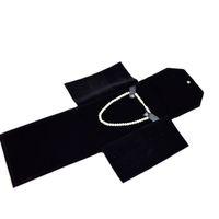 ingrosso cartelle di viaggio-2016 nuovo arrivo sacchetto di gioielli cartella portatile pergamena di immagazzinaggio di viaggio rotolo per collana pendente di velluto nero sacchetto dei monili