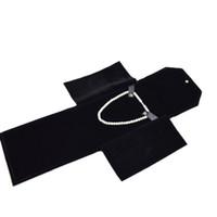 poşet siyah inci toptan satış-2016 Yeni Varış Takı Çantası Taşınabilir Klasör Inci Depolama Seyahat Tutucu Rulo Kolye Kolye Siyah Kadife Takı Kılıfı Kutusu