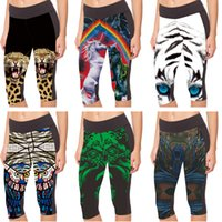 Women black and white leggings - 3D Print Sports Capri Pants Fashion Cropped High Waist Women Leggings Black Green Dragon Small Deer and Rabbits Blue Eyes Tiger LN7Slgs