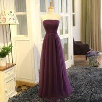 robe demoiselle d'honneur plissée violet achat en gros de-Purple A-Line Longue Robes De Demoiselle D'honneur Bretelles Plis Satin Taille Élégant Pas Cher Mariage Robes Invité robes de demoiselle d'honneur