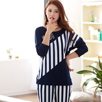 Wholesale woman home wear pajamas - Wholesale- Woman pyjamas new Spring & Autumn long sleeve plus size L-3XL cotton Loose Leisure women pajamas sets Home wear Furnishing Suit