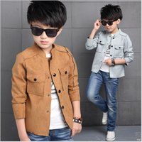 Wholesale Cool Style Child - Free shipping 2016 autumn children coats jackets boys clothes cool fashion faux suede fabric 3 colors