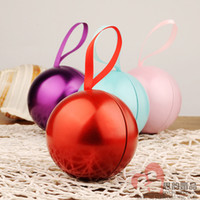 Wholesale Spring Candy Favor Boxes - European Round Ball Tin Box , Creative Multi Candy Boxes Favor Holders Gift Box 2016 Spring Style