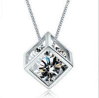 Wholesale Diamond Shape Necklace - 2016 Fashion 925 Sterling Silver Box Chain Austria CZ Diamond Crystal Love Magic Cube Square Shape Pendant Necklace For Women Wedding Gift