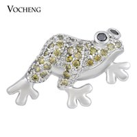 Wholesale Frog Material - NOOSA Ginger Snap Frog CZ Stone Copper Material 4 Colors 18mm Animal Button VOCHENG Vn-1394