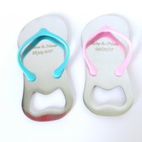 Wholesale Flip Flops Wedding Guests - Customized Wedding Favor And Gift Personalized Wedding Souvenirs For Guests Flip-Flop Bottle Opener Gifts+Box Organza Bag