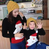 Wholesale Family Christmas Sweaters - Mommy and my sweater baby girls santa claus knitted princess pullover Christmas kids long sleeve jumper family casual clothing R0536