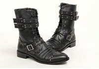 Boucles De Bottes Punk Pas Cher-FASHION Hommes Chaussures montantes, Mid-Calf Boot, Noir Punk Rivets Boucles PU Leather Combat Lace-Up Side Army Zipper Martin Bottes