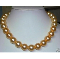 Wholesale South Sea Shell Pearl Gold - new Natural AAA+10mm South Sea Shell Pearl Beads Necklace 20''14k