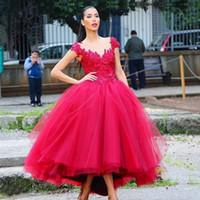 Wholesale Sweetheart Corset Tea Length - Short Front Long Back Corset 2017 Evening Dresses Applique Red Arabic Style Evening Dress African Formal Dresses Prom Dresses