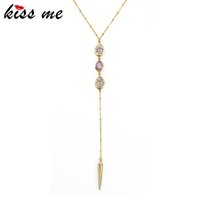 Wholesale gold snake pendant for sale - New Arrival Gold Color Rivet Pendant Necklace Fashion Jewelry Summer Long Women Necklace Birthday Gift