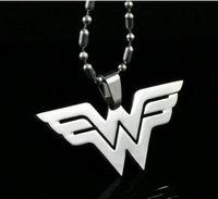 Wholesale Dc Superheroes - Wonder Woman Necklace Movie Series DC Comics Superhero W Logo Stainless Steel Pendant Necklaces
