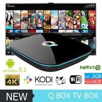 Wholesale Tronsmart 2gb - Smart TV Boxes Qbox Android S905X Stream Boxes 2G 16G support Tronsmart Picasa Youtube Flicker Facebook Online movies Hd Internet TV Box New