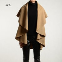 Wholesale Cheap Ruffle Coat - Cheap women's new foreign trade foreign trade in Europe and America Slim sleeveless woolen shawl cape coat explosion models selling B030