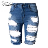 Wholesale Womens High Waisted Skinny Jeans - Punk Rock Style Summer Hole High Waisted Denim Shorts Vintage Ripped Short Jeans Sexy Womens Shorts
