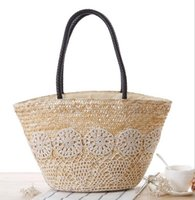 Wholesale Beach Bags Natural - Factory direct woman straw bag leisure Beach bag checking Crochet net woven handbags pastoral natural color straw hand bag