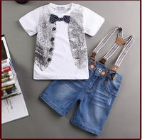 Wholesale 6t Boys Denim Jeans - 2016 Childrens clothing sets Spring fashion Baby boy denim 3pcs suit set cotton Short sleeve T- shirt+jeans shorts+suspenders SKW-262