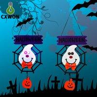 ingrosso lampade di luci felici-Halloween porta lampada da sospensione Spider web decorazione luci panno vacanza festa noverty felice lampada zucca rabit strega ragno fantasma forme