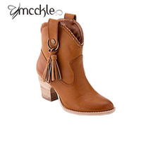 Wholesale Autumn Boots Thick Heel Vintage - Wholesale-Women Western Cowboy Boots Classic Pointed Toe PU Leather Slip On Knight Boots Female Autumn Vintage Buckle Thick Med Heel Botas