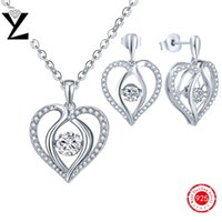 Heart Rhythm Dancing Embutidos CZ Diamond NecklaceEarrings 925 Sterling Silver Jewelry Sets Lady's Designer Jóias para Mulheres Party DP19310D