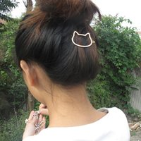 Wholesale South Korea Cat - Hollow Cat Head Metal Hair Clip Lady Hair Clip High Quality Korea Clip OEM ODM Wholesale