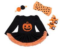 Wholesale Tutu Leggings Dots - New Baby Girl Halloween Clothes Infant long sleeve Tutu Romper Dress +Headband+Shoes+dots Leggings Infant 4pcs Set Newborn Costumes A9574