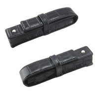 Wholesale School Bag Rollers - Wholesale-Best Promotion Black Pen Or Roller Ball Fountain Pen Leather Case for Only One Pen Storage Bag Office Business People Gift