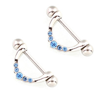 Wholesale Blue Surgical - wholesale 4 pieces lot Nipple ring Blue Crystal body Piercing jewelry 14G 316L surgical steel bar Nickel free shipping