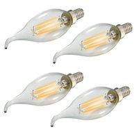 Wholesale Candelabra Bulbs Free Shipping - 100PCS LOT C35T 4W LED Filament Candelabra Bulb LED Candle Bulb E14 AC220V 400LM Candle Light Free shipping