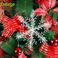 Wholesale Set Plastic Snowflake Ornaments - 2016 30 pcs set Snowflake Christmas Decoration Christmas Tree Ornament Home Festival Decor 10.8 cm Bunch Hanging Ornaments Snow