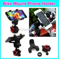 Wholesale motorcycle handlebar cell phone mount for sale – best Universal Cell phone Holder Dual Clip Motorcycle Bike Mount Stand Flexible Holder For Smart phone Handlebar Degree Rotating Free DHL