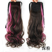 Wholesale Dark pink cosplay hair pony tail drawstring ponytail wavy tail natural hair ponytail