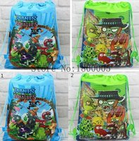 zombies pc game achat en gros de-12 Pcs Plantes Cartoon mode vs Zombies Hot Jeu Drawstring Backpack Tote Bag école Cordes Sacs Sac enfant