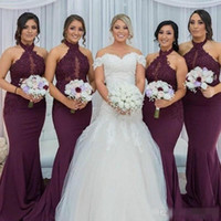 Wholesale Halter Top Dresses Plus Size - 2017 Hot Purple Grape Mermaid Bridesmaid Dress Vintage Arabic Halter Neck Lace Top Wedding Guest Maid of Honor Gown Plus Size Custom Made