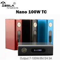 Wholesale Built Fit - Authentic Tesla Nano 100W TC Box Mod with 4500mah Built-in Lithium polymer Battery Fit Nickel 200 Ti Coil Head Temperature Control Tanks