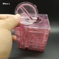 lustige sparbüchsen großhandel-Red Funny Labyrinth Labyrinth Geld Bankeinsparung Collectibles Fall Münze Geschenkbox 3D Puzzle-Spiel Kinder Geschenke